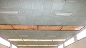 Plaques murales et de plafond perforées en amiante ciment - Les fibres sont visibles au niveau des trous